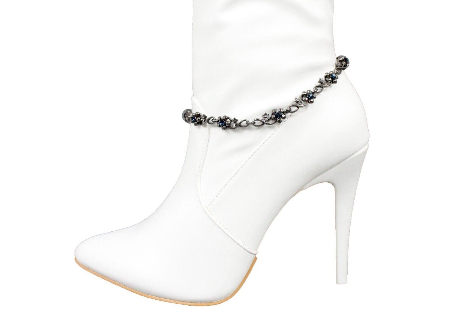 Women Silver Metal Chain Boot Bracelet Shoe Blue Flower Classic Charm Jewelry