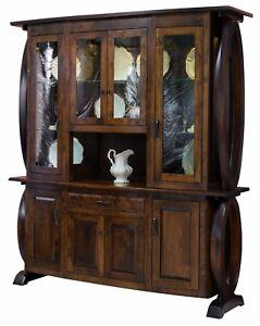 Amish Modern Hutch China Cabinet 4-Door Solid Wood Saratoga 72W