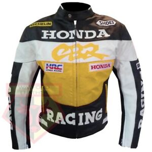 HONDA-CBR-YELLOW-MOTORBIKE-MOTORCYCLE-BIKERS-COWHIDE-LEATHER-ARMOURED-JACKET