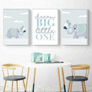 Cartoon Elephant Canvas Poster Nursery Wall Art Print Baby Bedroom ...