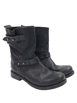 Rag & Bone Black Leather with Buckles Sz 36.5/6.5 Moto Short Boots