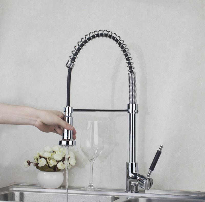 Pivotant chrome Kitchen Sink Pull Down Pont Mont robinet deux eau Chemin Mélangeur Robinets