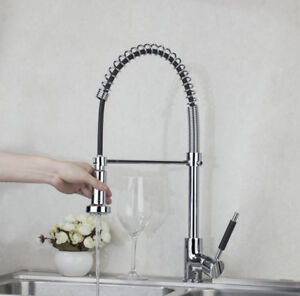 Pull Down Kitchen Sink Faucet One Hole Mixer Tap Chrome Two Way
