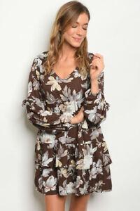 Entro-Boho-Brown-Floral-Boutique-Western-Tiered-Ruffle-Hem-Chiffon-Dress-S-M-L