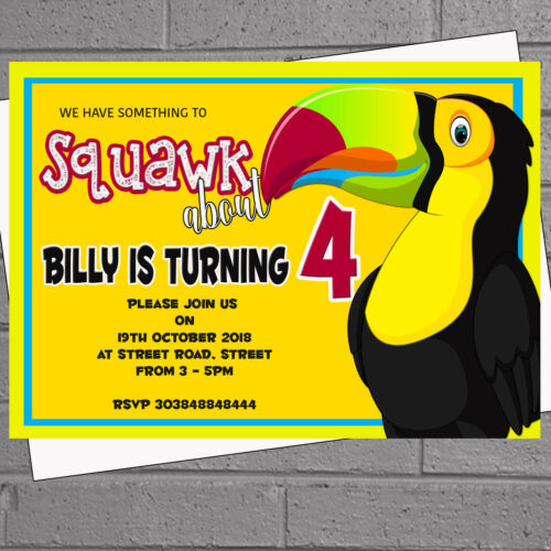 12 x Parrot Toucan Squawk Birthday Party InvitationsH2003