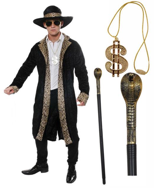 3d3022b6529 Mens Leopard Black Pimp 70s 80s Fancy Dress Costume Snake Cane Dollar  Medallion