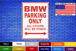 BMW-Parking-Only-8-034-x12-034-American-White-Aluminum-Sign-Choose-Color-Novelty-Buy