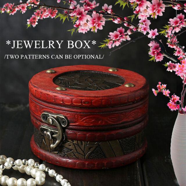 Vintage Wooden Trinket Jewelry Storage Box Treasure Lock Chest Organizers Case