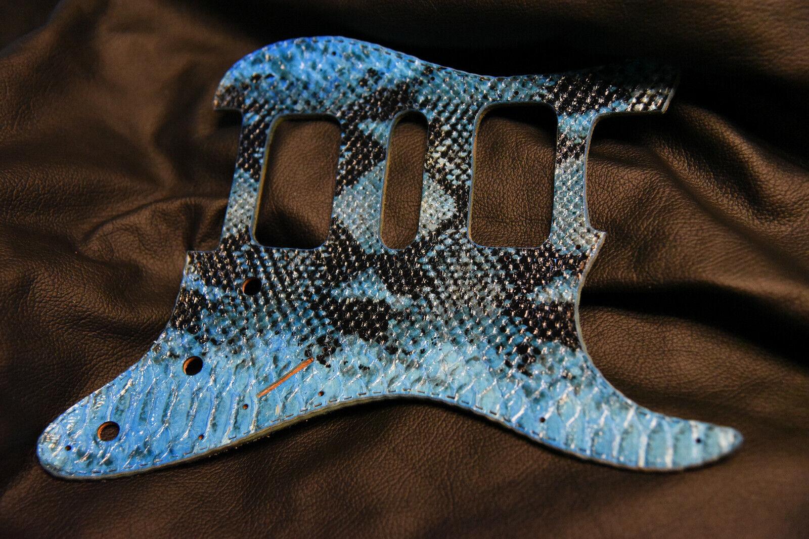 Fender Strat HSH pickguard leather tuscon python Snake skin turq and schwarz