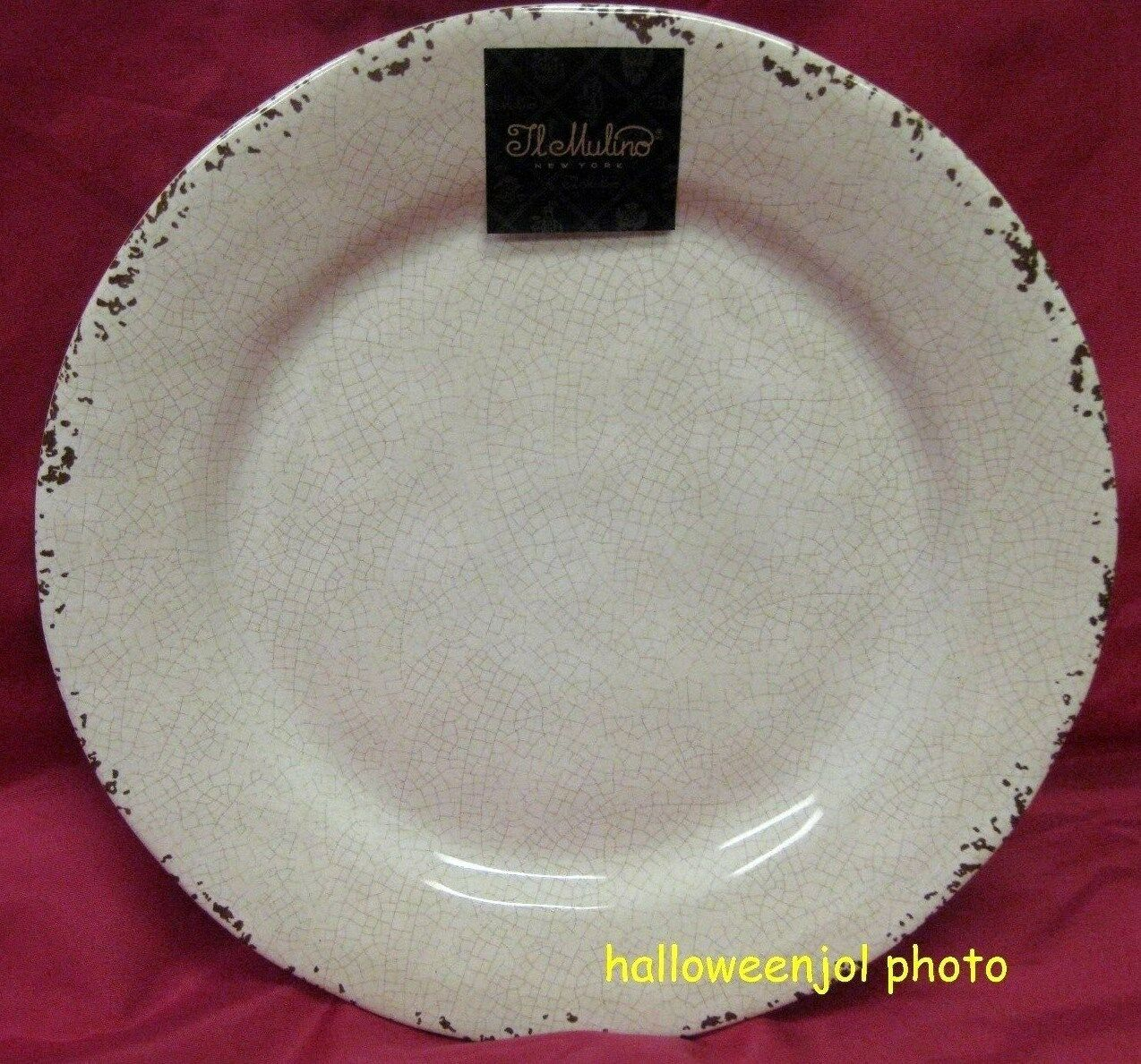 IL MULINO CREAM BEIGE RUSTIC MELAMINE  SIDE SALAD PLATES 9  Set of 4 NEW