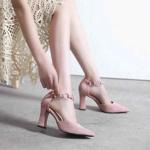 Decolte scarpe simil donna rosa tacco quadrato 9 cm simil scarpe pelle eleganti 9687 65fe13