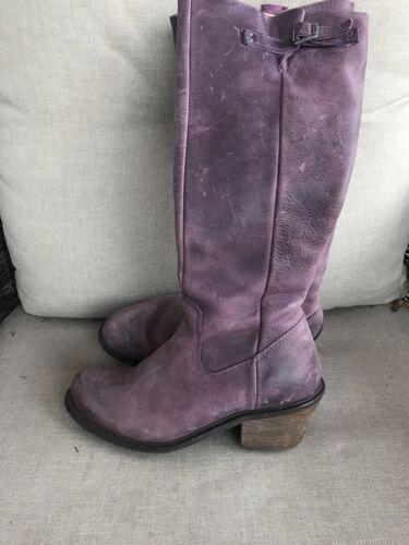 John Fluevog Purple Leather Knee High Boots 7