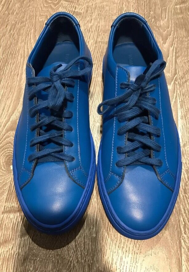 Gentlemen/Ladies common projects leather sneakers in cobalt Clearance price Upper material value