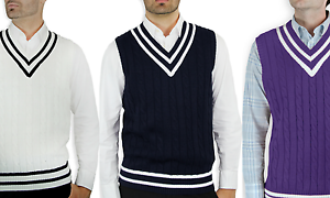 1b251ae5a BLUE OCEAN MEN S V-NECK KNIT CABLE CLASSIC CRICKET SWEATER VEST (SV ...