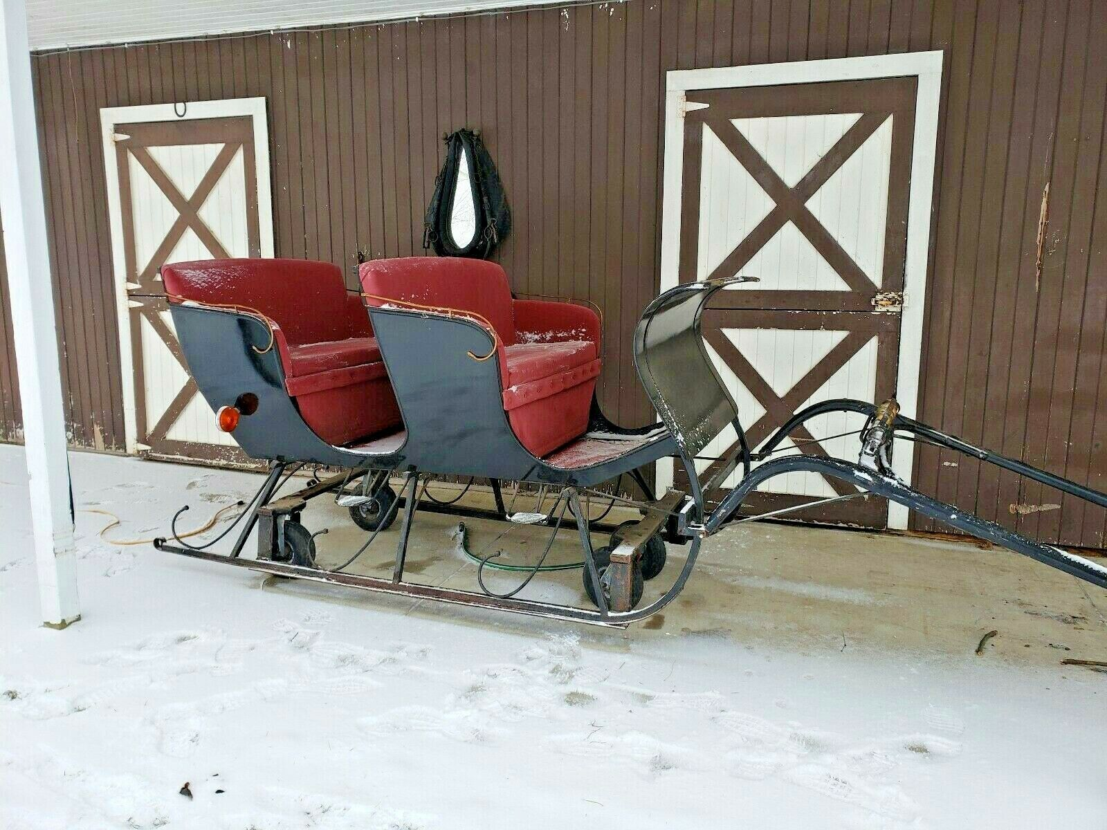 HORSE DRAWN SLEIGH  ONE HORSE OPEN SLEIGH 4 PERSON WITH RUNNERS AND WHEELS  cheap sale outlet online