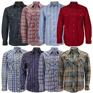 Men-039-s-Casual-Western-Boutonne-a-Manches-Longues-RODEO-Pearl-snap-Cowboy-Chemise-Habillee