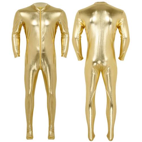 Mens Shiny Metallic Bodysuit Zipper Wetlook Leotard Jumpsuit Clubwear Costume