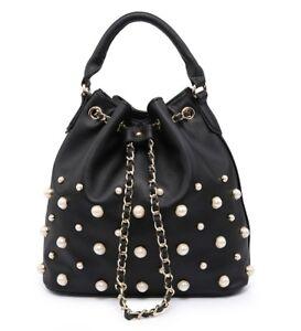 1ac5626ffb5 Details about Ladies Designer Pearl Studded Bucket Shoulder Bag Slouch  Handbag Tote Bag M7825