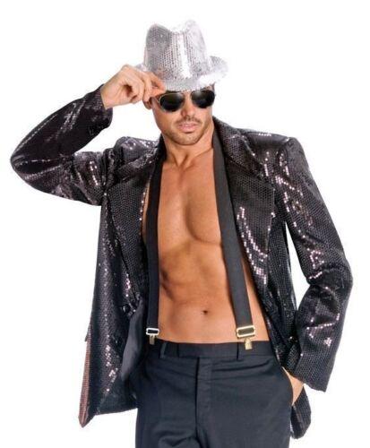 Men/'s Jazz Disco Black Sequin Jacket Pimp Costume Accessory Hip Hop Dancer Star