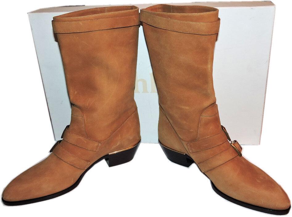 1595 1595 1595 CHLOE Susanna Buckle Strap Mid Calf Stiefel Tan Suede Low Heel Stiefelies 39 2fcb72