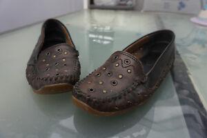 Rieker-Damen-Schuhe-Mokassins-Slipper-Ballerinas-Gr-38-braun-Leder-vintage
