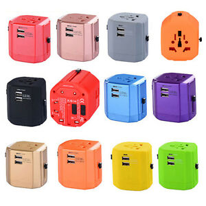 Universal Travel Adapter With Dual USB Charger Wall AC Power