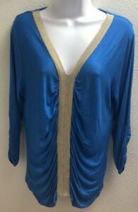 Blouse-Top-large-l-womens-blue-gold-stretch-casual-august-silk-long-sleeves