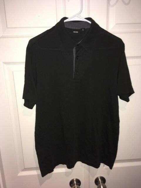 Boss Hugo Boss Mens Short Sleeve Polo Shirts Black Cotton Size L
