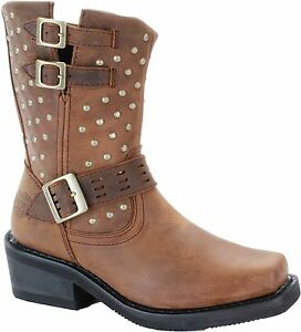 Wonderful HARLEY-DAVIDSON-Womens-Riding-Motorcycle-Buckles-Brown-Leather-Boots-US-6