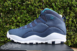 cfa847cb187b JORDAN 10 X RETRO GS SZ 6.5 Y LOS ANGELES NAVY BLUE LAGOON FOG ...