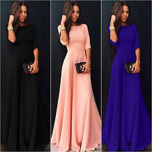 Women-039-s-Long-Chiffon-3-4-Sleeve-Evening-Formal-Party-Prom-Ball-Gown-Maxi-Dress