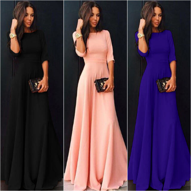 Women's Long Chiffon 3/4 Sleeve Evening Formal Party Prom Ball Gown Maxi Dress