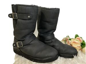 UGG Moto Boots Buckle Mid Calf Waterproof Leather 1005374 Womens Size 11 Black