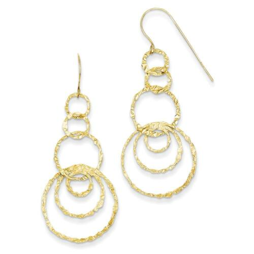 14k Ladies Yellow Gold Polished and Textured Dangle Circles Earrings 42mm x 19mm