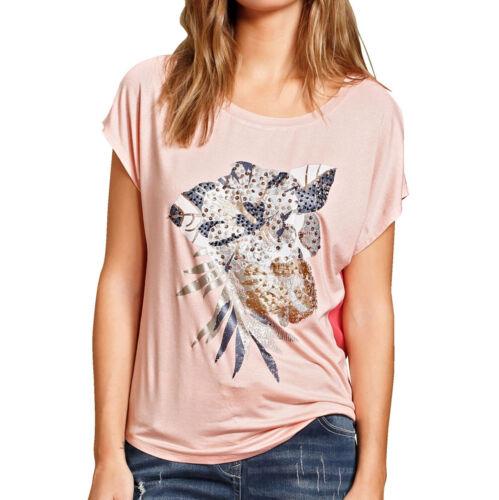 Alba Moda T-Shirt mit Blumendruck im Vorderteil Gr koralle NEU!!! 38