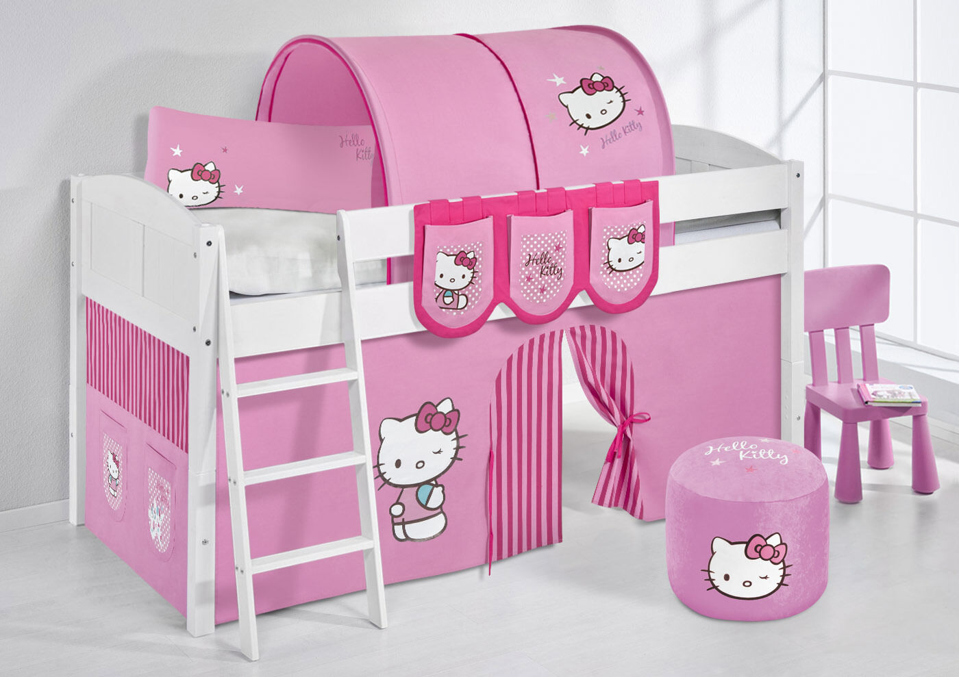 Spielbett surelevé lit enfant 4106 LILOKIDS Hello Kitty rose