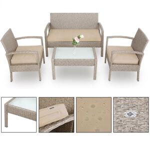 Salon de jardin polyrotin gris/beige avec coussins meuble jardin set ...