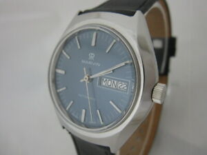 NOS-NEW-VINTAGE-SWISS-MADE-AUTOMATIC-WITH-DATE-MARVIN-MEN-039-S-ANALOG-WATCH-1960-039-S