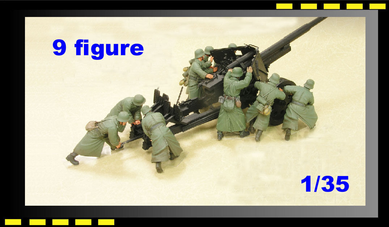 Resin soldier HobbyFan 1 35 German 8.8cm Anti-Tank Gun crew X 9 Figure HF576