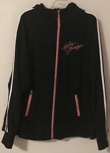 Harley-Davidson Pink Black Full Zip-up Hoodie - Size 2W Woman's Pockets B915