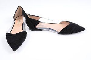 Valentino-B-Drape-black-clear-6-36-suede-PVC-point-toe-slip-on-ballet-shoe-795