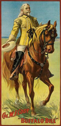 BUFFALO BILL 1908 Vintage Wild West Horse Canvas Print 15x30