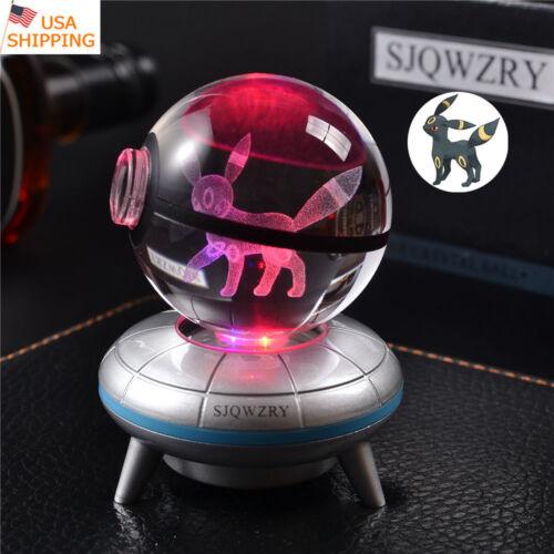 Pokemon Umbreon 3D Crystal LED USB Night Light Lamp Crafts Xmas Brithday Gift