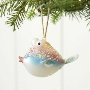 Pottery Barn Bead Embellished Glass Blowfish Fish Ornament