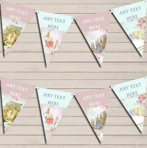 Peter Rabbit Shabby Chic Baby Shower Bunting Garland Personalised Flag Banner