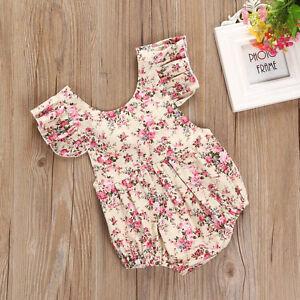7ace7eb606a9 Summer Newborn Baby Kids Girl Floral Romper Jumpsuit Playsuit Bodysuit  Outfit