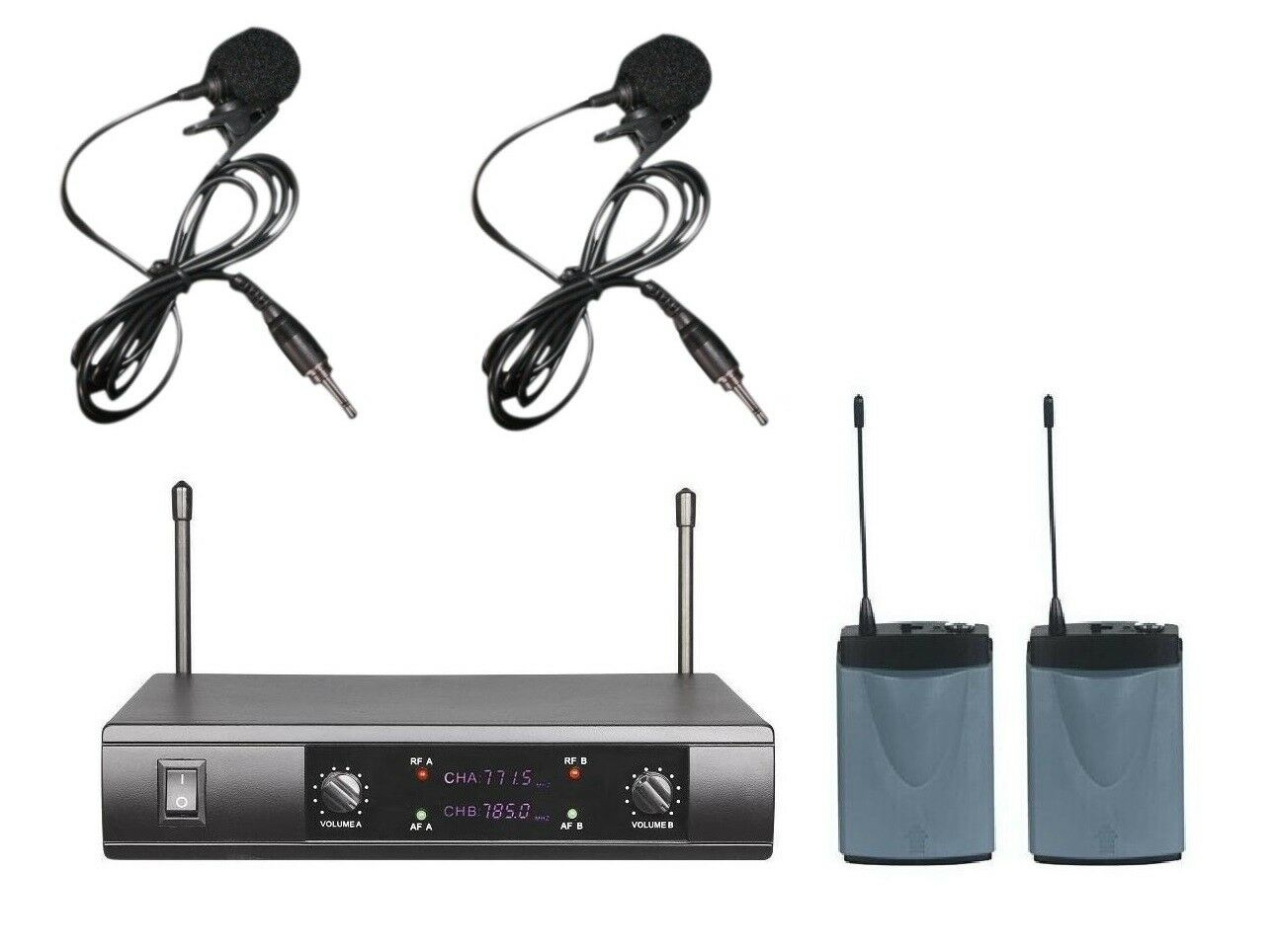 UHF Collar Mic Wireless Microphone System Receiver 2 Lapel Microphone Cordless