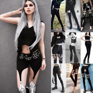 Women-039-s-Dark-Vintage-Street-Style-Pants-Gothic-Rocker-Trousers-Punk-Leggings