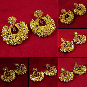 Image Is Loading Goldtone Traditional Bollywood Dangle Earrings Designer Jewelry Bse132