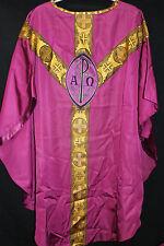 CASEL gotisch Messgewand modern sakral Kirche violett Motiv: P AO Anker